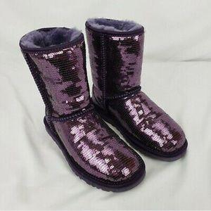 NWOT ugg purple short sequin boots